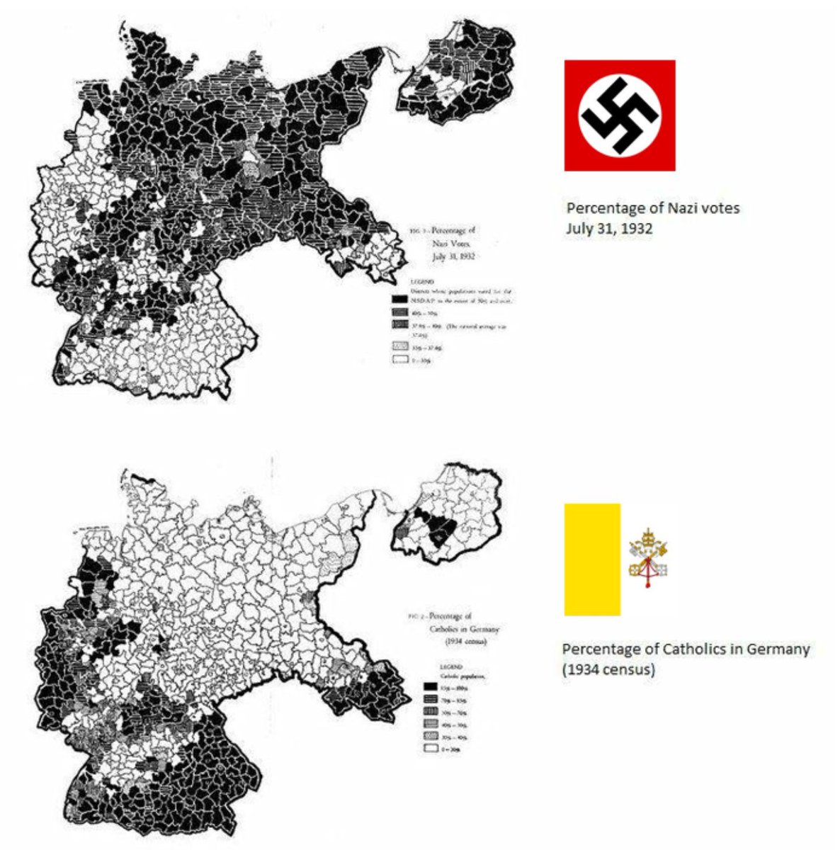 Definitely a graphic worth considering; conspicuous lack of overlap The Catholic Church and the National Socialist party simply were and are incompatible I remember both reading in texts I studied and contemporary propaganda the NSP belief the Church was their biggest adversary