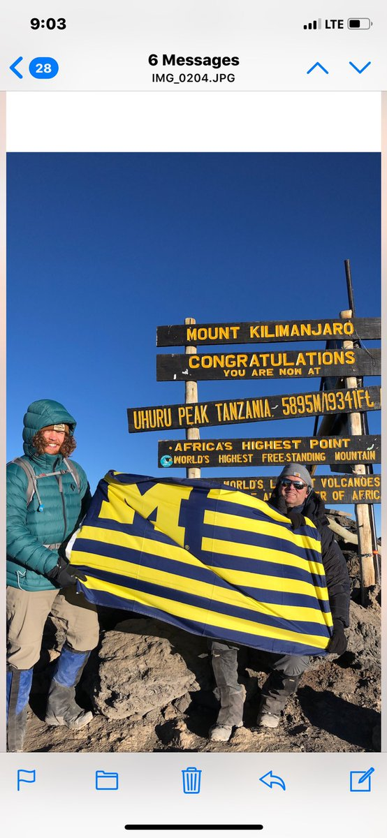 Very impressed and happy for long time friend Jon Harris! AT TOP OF KILIMANJARO. GO BLUE!
