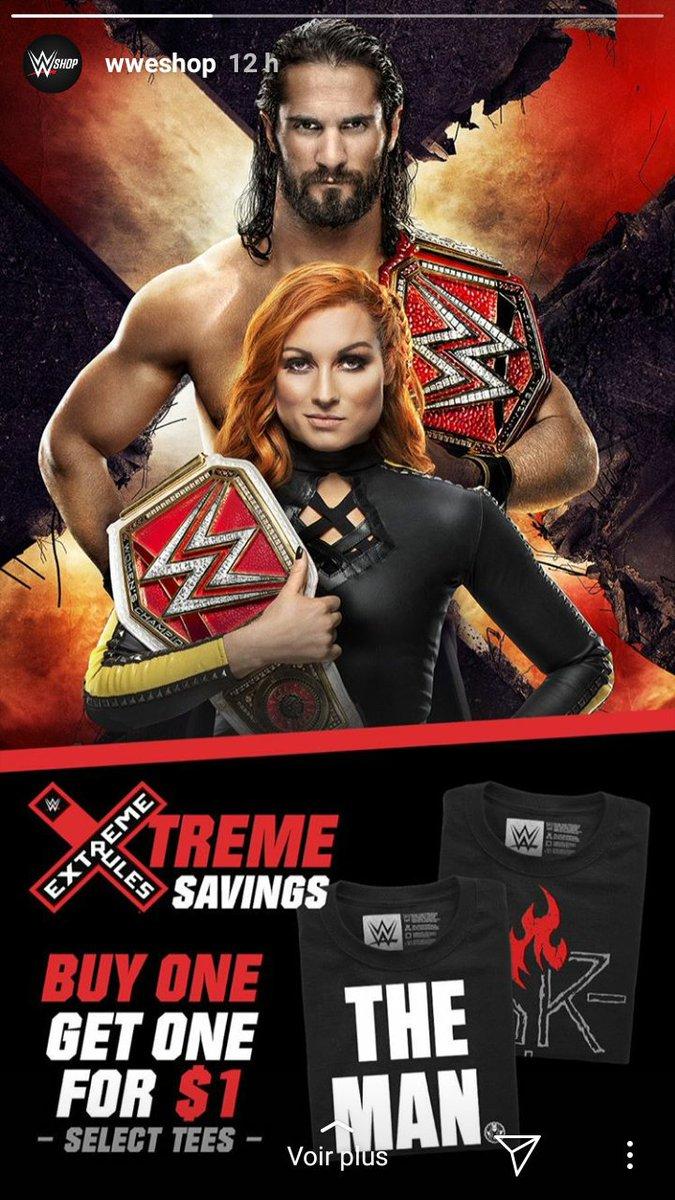 @WWEShop via #InstagramStories w/ @WWERollins & @BeckyLynchWWE #extremerules #UniversalChampion #Raw #WomensChampion #SethRollins #BeckyLynch #brollins #WWEShop 👑👑💪💪💪🔥🔥🔥