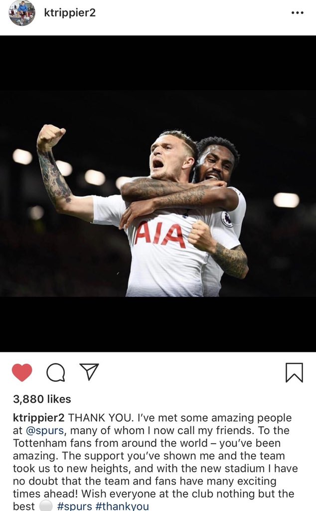 I'm not saying Kieran Trippier is error prone but he's just thanked the San Antonio Spurs by mistake.