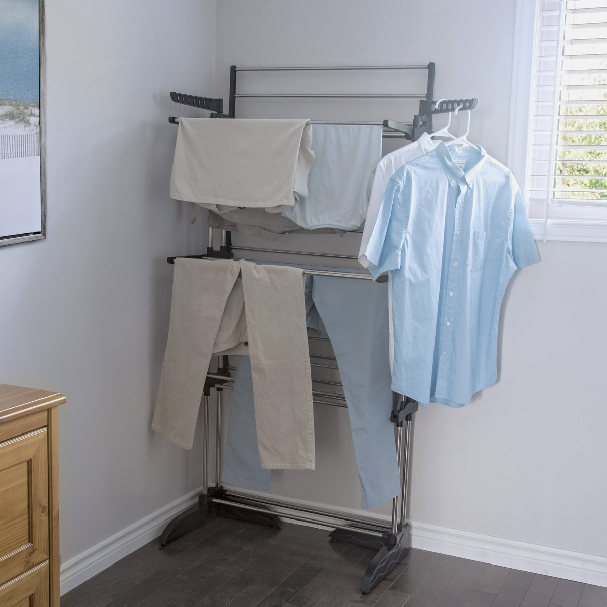 Utilize vertical space to dry your clothes with the GFR6000SS Greenway Collapsible Vertical Drying Rack. Featuring 6 shelves that may be folded up and out of the way when not in use, this rack is perfect for making the most out of limited spaces. https://t.co/oVjYuFCjAA https://t.co/GZa5OEEHAa