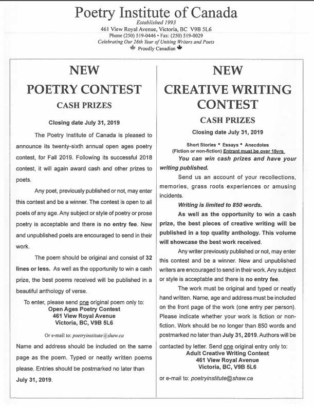 childrens writing contests 2019 canada