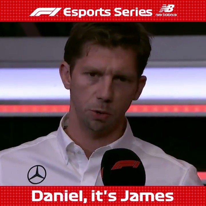 'Daniel, it's James' 😅  He travelled halfway around the world, and with the last pick Daniel Shields was chosen by @MercedesAMGF1 at the #F1Esports Pro Draft in London! 🌏👏