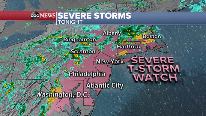 JUST IN: Severe Thunderstorm Watch in effect for the Northeast now extends from Boston as far south as Washington, D.C. gma.abc/2HNA1Wz