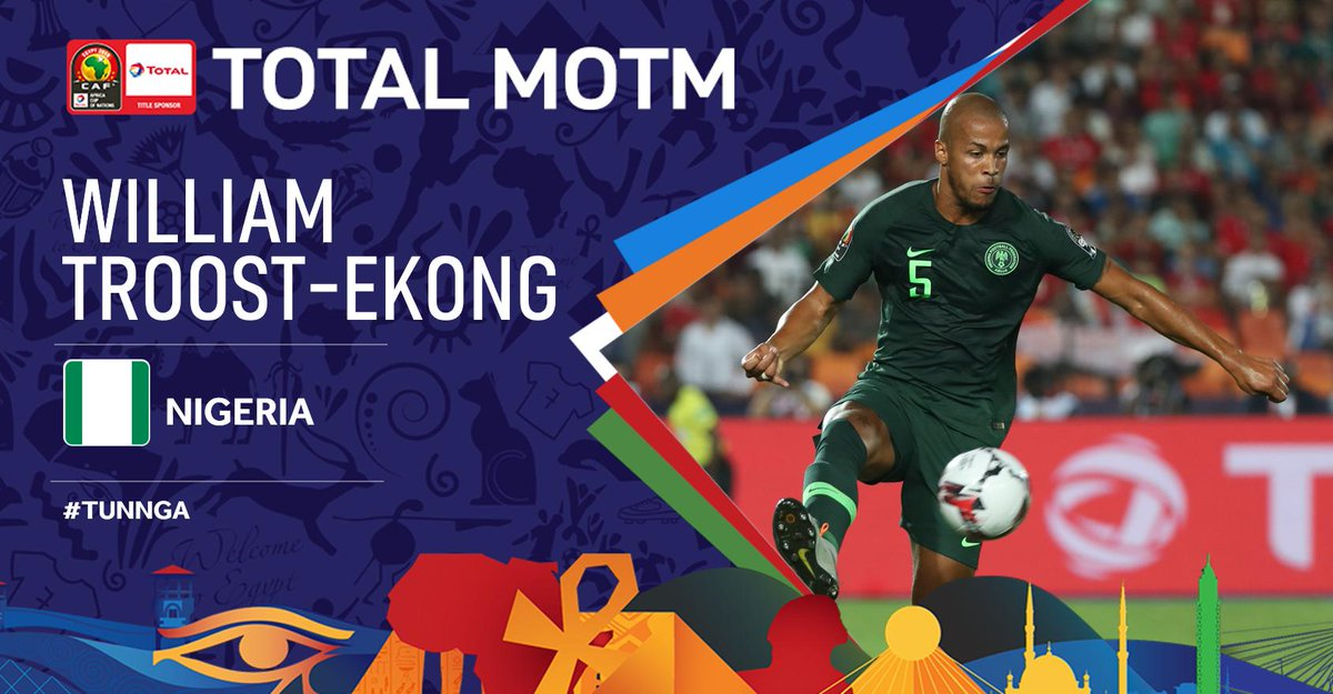 #TotalAFCON2019 After his stellar performance, @WTroostEkong has been selected as the Total Man of the Match. Congrats! #TUNNGA #FootballTogether