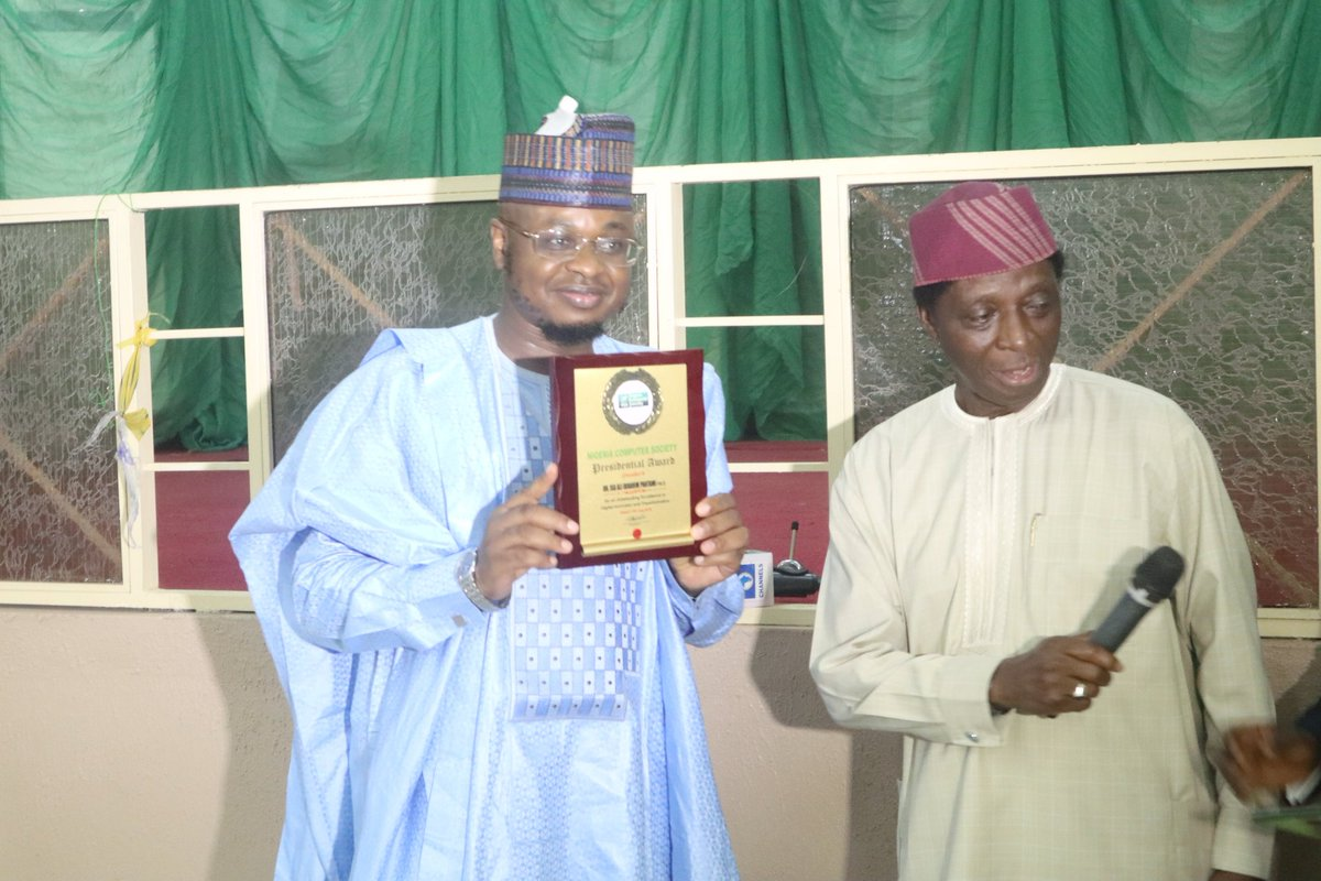 Congratulations! The Chief Information Technology Officer of Nigeria, @DrIsaPantami conferred with the Nigeria Computer Society PRESIDENTIAL AWARD for an Outstanding Excellence in Digital Innovation and Transformation. #NCSGombe2019 #NITDA19 #NITDA