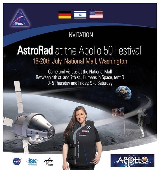 50 years ago, man walked on the Moon for the first time. Today, I am reaching out to invite you to our AstroRad exhibit at NASAs main event commemorating this historic event! @NASA_Orion @ILSpaceAgency @LockheedMartin