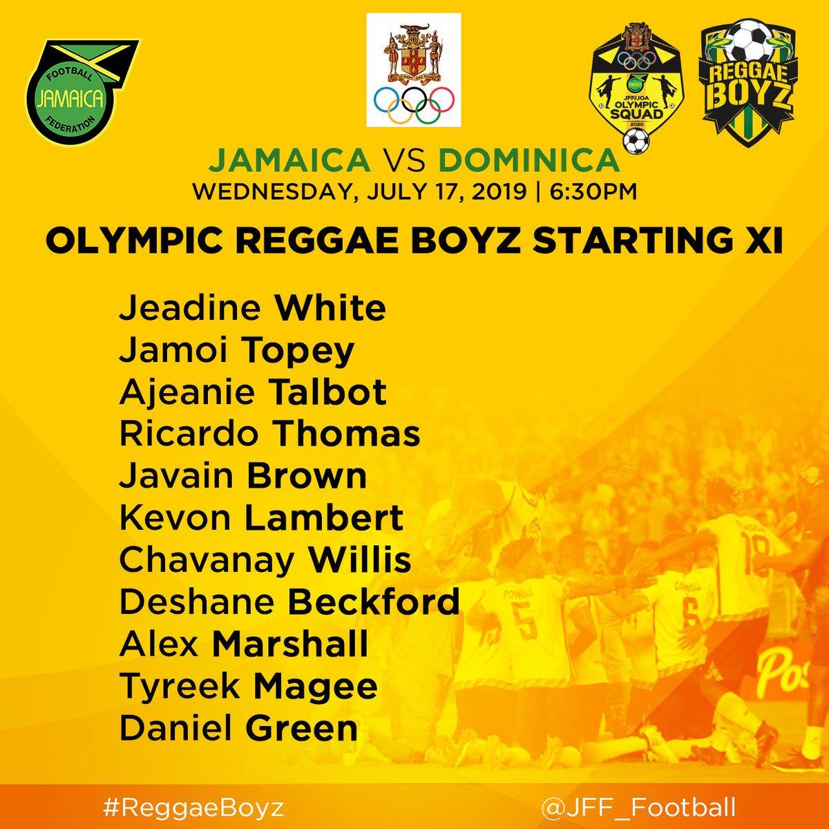 || Matchday 🇯🇲 vs 🇩🇲 || Under 23 #ReggaeBoyz starting XI for their game against Dominica! ||#OlympicQualifiers 🏆 Matchtime: 6:30 pm(JA Time)  #JFFLive #ReggaeBoyz #ReggaeFootball #StillOnTheBall