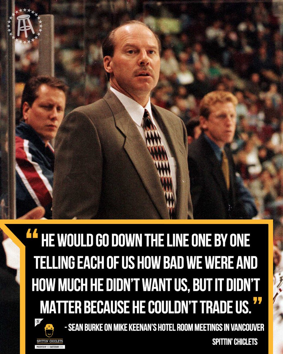 Mike Keenan seemed like a real joy to play for.   Sean Burke joined the podcast this week to discuss what it was like to play for the infamous Coach.   Full episode—> https://podcasts.apple.com/us/podcast/spittin-chiclets/id1112425552#episodeGuid=d5bfa9f8-b563-244e-18e3-dec751cf1cc0…