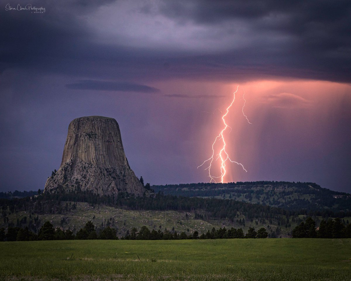 Thunderstorm with lightning blot in Wyoming