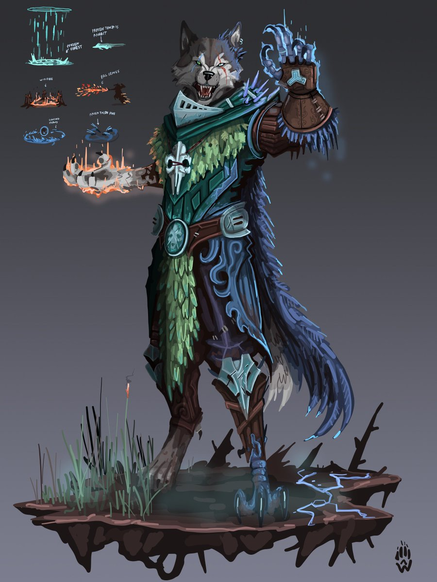 Deformed Druid Merlin SMITE Skin Concept! A druid who used wild form too many times, now he's slowly being corrupted by them - I think one of my favorite things would be to have the flames be fall colored leaves that he sprays out.  #SMITE #fanart #conceptart<br>http://pic.twitter.com/V4UqHRahPy