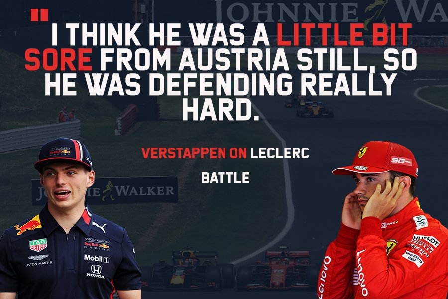 """ICYMI: @Max33Verstappen thinks @Charles_Leclerc is still """"a little bit sore"""" from Austria - hence their battle at Silverstone. 🇬🇧  👉🏻 https://bit.ly/2Y5VYfD  #F1 #AustrianGP #BritishGP #Charles16#Max33"""