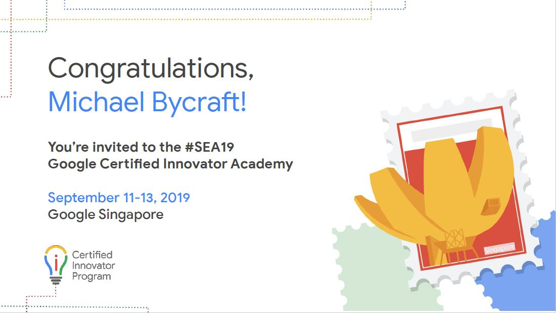 So this is really happening! Im incredibly excited and honored to join all the other Google Innovators in Singapore. Time to learn a whole lot. Countless thanks to @mscharenEDU an old school Innovator who helped me immensely in the application process. #SEA19 #GoogleEI