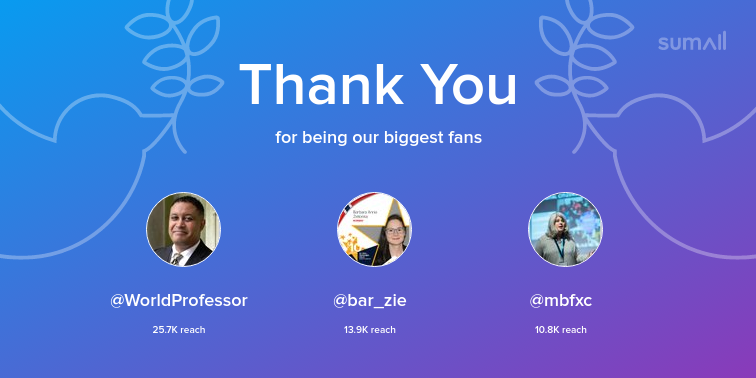 Our biggest fans this week: WorldProfessor, bar_zie, mbfxc. Thank you! via sumall.com/thankyou?utm_s…