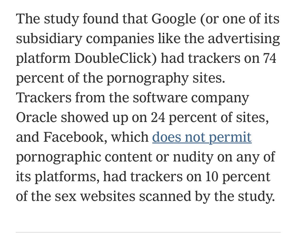New from me: Researchers scanned 22,484 pornography sites and found a lot of Facebook Google and Oracle trackers. nytimes.com/2019/07/17/opi…