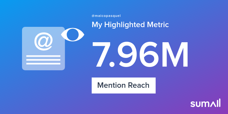 My week on Twitter 🎉: 247 Mentions, 7.96M Mention Reach, 588 Likes, 38 Retweets, 11.3K Retweet Reach. See yours with https://sumall.com/performancetweet?utm_source=twitter&utm_medium=publishing&utm_campaign=performance_tweet&utm_content=text_and_media&utm_term=799a076115d1167c460135e9…