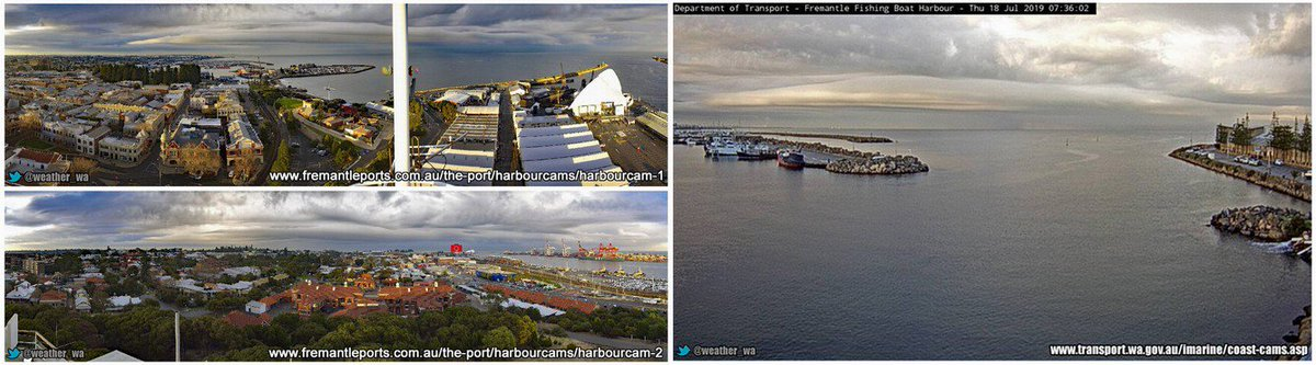 Views Of The Rain Coming In From The Coast On The #Fremantle Port Cams  And The Department Of Transport #Fremantle Harbor Cam This Morning:  #Freo #Perth #PerthNews #PerthWeather #JustAnotherDayInWA  #WesternAustralia