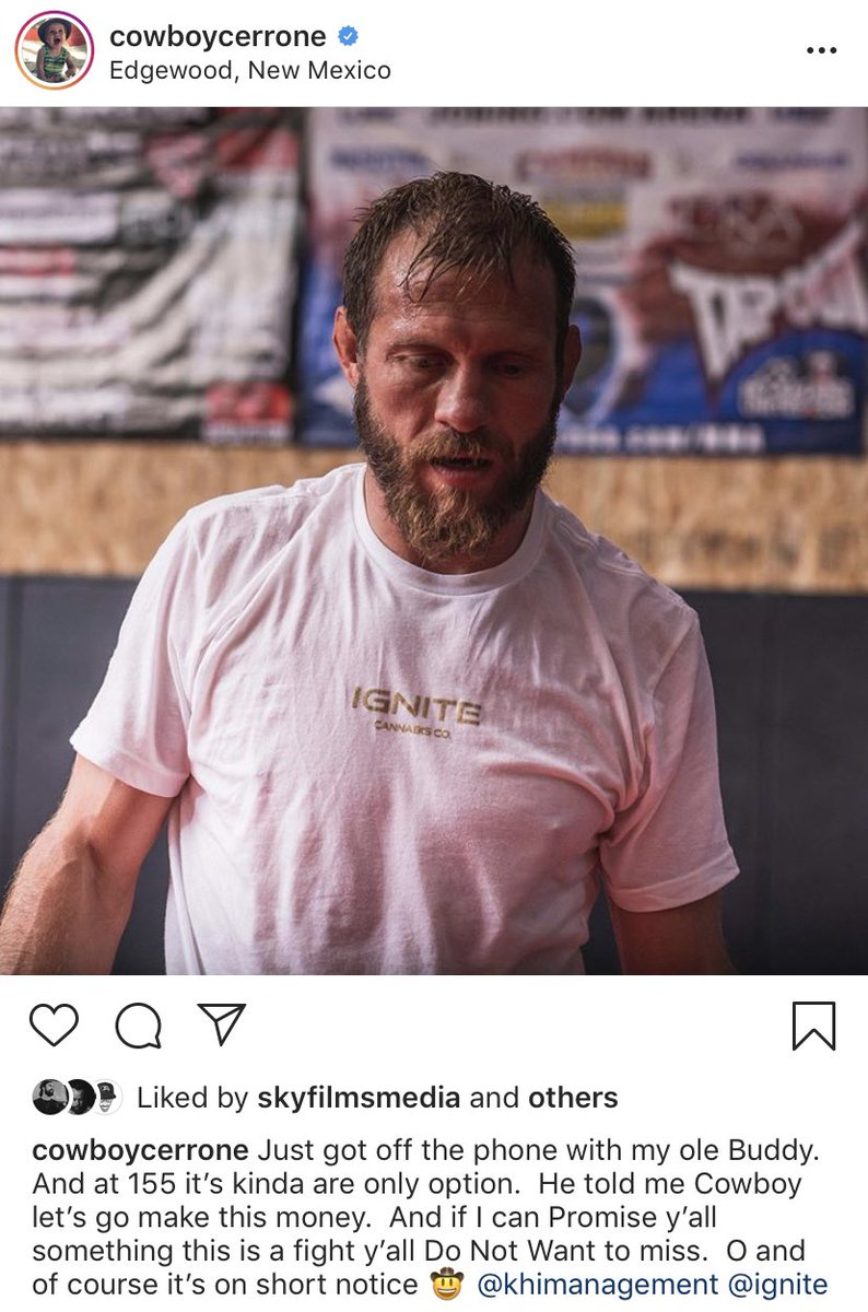 """Donald """"🤠"""" Cerrone with a short notice fight on the horizon according to his Instagram #UFC #MMA"""