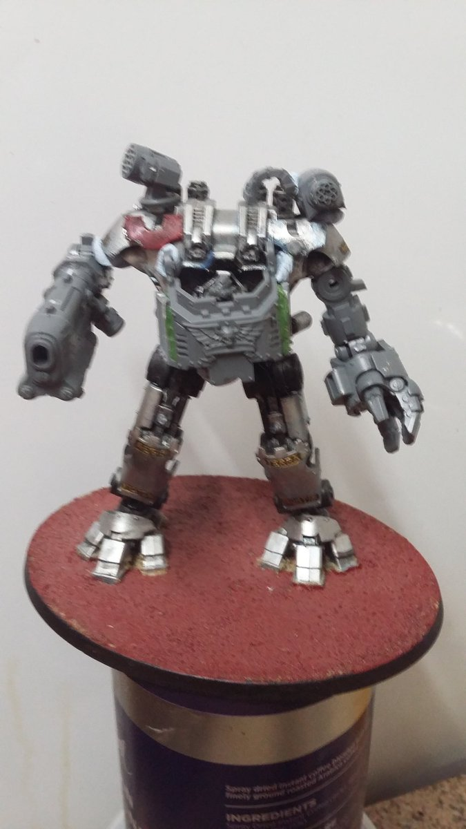 Roughed up Phobos dreadnought,  progressed a bit after the photos were taken, with green stuff and magnet in the right arm pit, will be glueing the arm in place after painting.  Rocket pod is magnetised.  #40k #warhammer40k #DarkAngels #Spacemarines