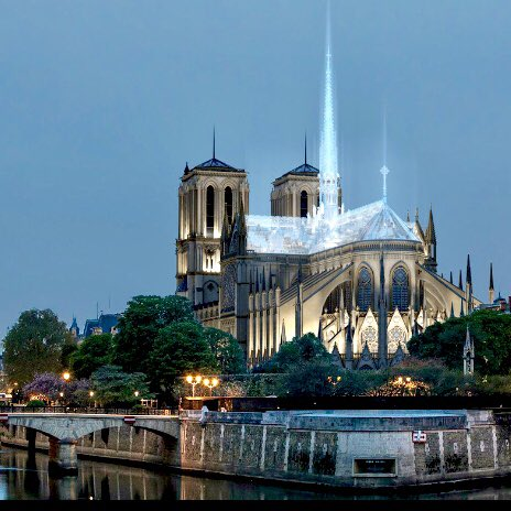 The reconstructed #NotreDameParis #cathedral could take some #Apple #design cues if a proposal from design from Eight Inc. wins the design competition. Mockups for the #transparent roof look pretty incredible apple.news/AWb6RlGLRS2CcP…