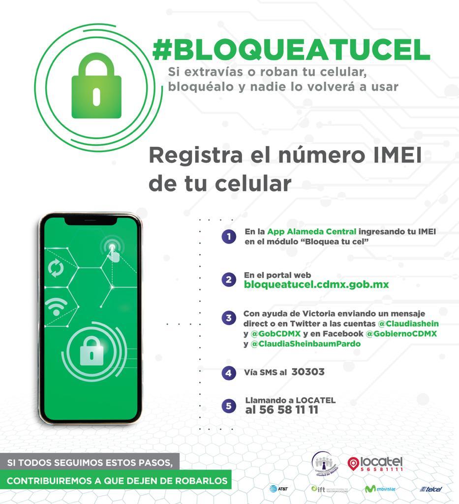 Combatamos juntos el robo de celular. #BloqueaTuCel evita que otras personas utilicen tu equipo; disponible para Android e iOS  http://bit.ly/2NGuBVC
