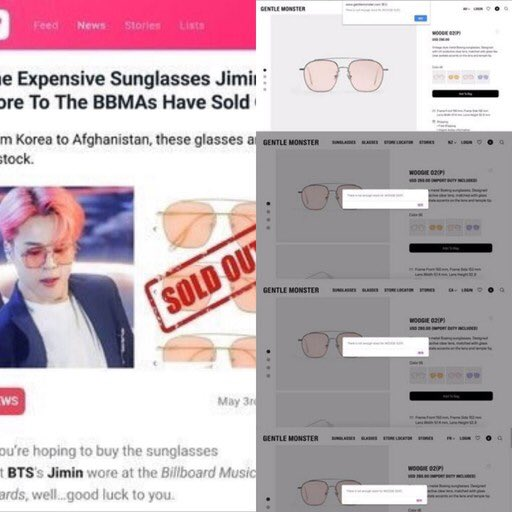 The glasses that #JIMIN wore at the BBMAs sold out in the US, Canada, Australia, New Zealand, France, Germany, Japan & Singapore & many more countries around the world.  The Saint Laurent necklace that he wore at the airport & Vetements phone case were sold out.  #지민 @BTS_twt<br>http://pic.twitter.com/PC6N8AcMks