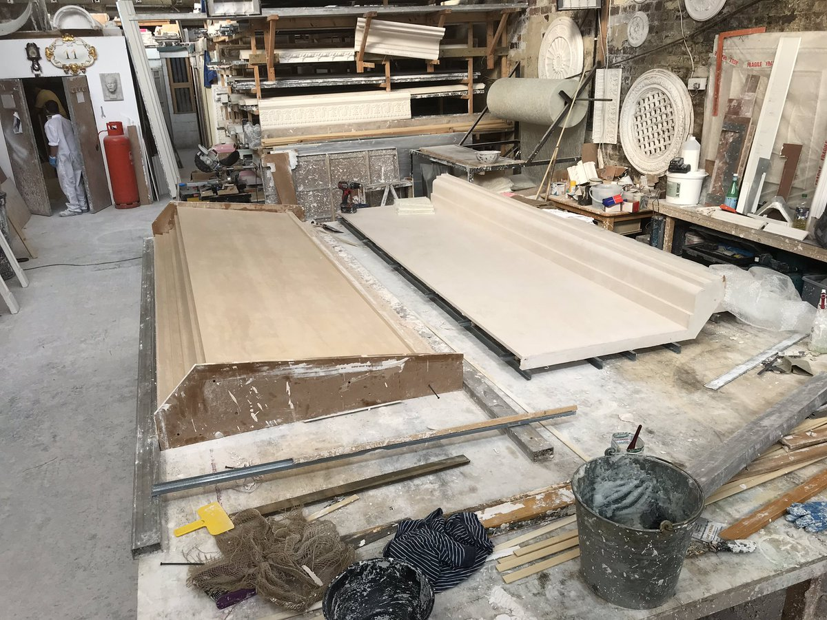 Busy workshop this morning with GRG 'plainface sheets' in full production along with taking a large fibrous plaster bulkhead mould off a newly run model. I just love it :)) #fibrousplaster #plaster #plasterwork #heritage #conservation #lime #periodhomes #interiors #interiordesign