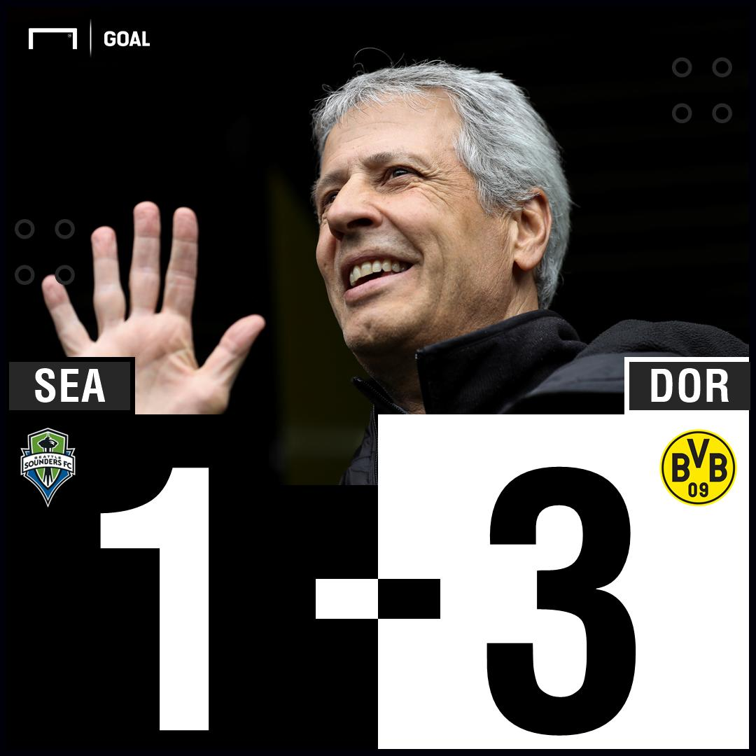 36 Wolf ⚽ 50 Alcacer ⚽ 54 Campbell ⚽ 77 Sancho ⚽ @BVB gets their U.S. tour off to a winning start against @SoundersFC 🇺🇸