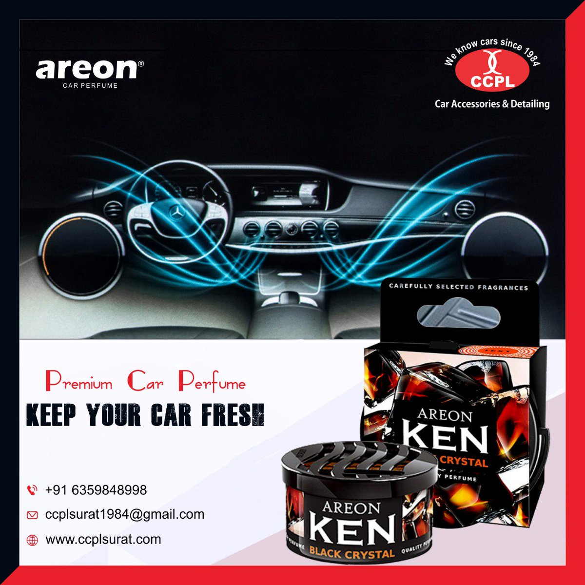 AREON FRESH premium car perfume  Keep your car fresh Available at @CcplSurat Dealership inquiry solicited from Gujarat. For more information mail us ccplsurat1984@gmail.com http://www.ccplsurat.com/  #carperfume #areonperfume #perfume
