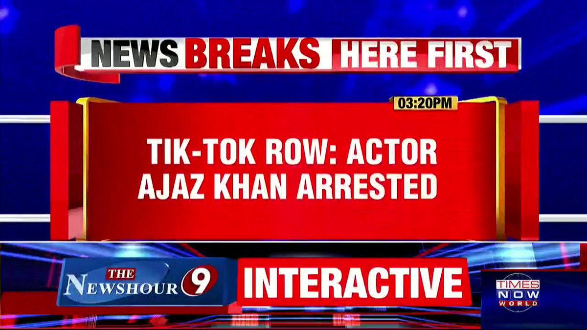 #Breaking   Actor Ajaz Khan (@AjazkhanActor) arrested by @MumbaiPolice for a controversial #TikTok video. The video was reportedly 'communal' in nature; hence, he was arrested.   @siddhantvm with details.   #TikTokNotice