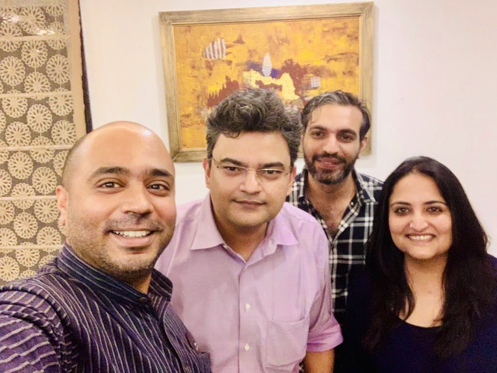 Had these fine gentlemen over for dinner and realised :) @Iyervval eats the least bcz posting food pics takes it all out of him @desimojito speaks the least cz twitter takes it all out of him @ARanganathan72 gets angry the least cz Arnab takes it all outta him!