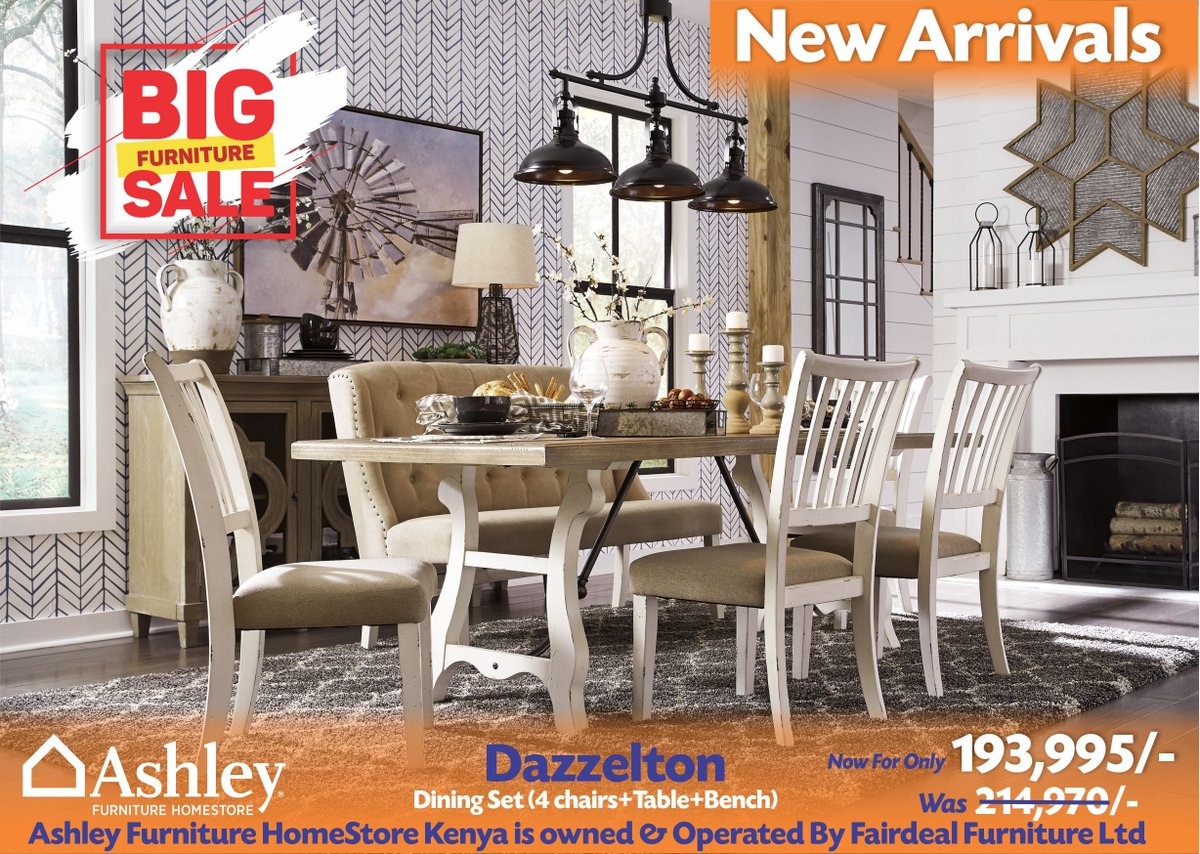 Ashley Furniture Homestore Kenya On Twitter A Unique Vintage Look Steeped In Rustic Elegance To Your Dining Area With This Dining Room Set Chairs Vintage Slat Back Design With Upholstered Seat In