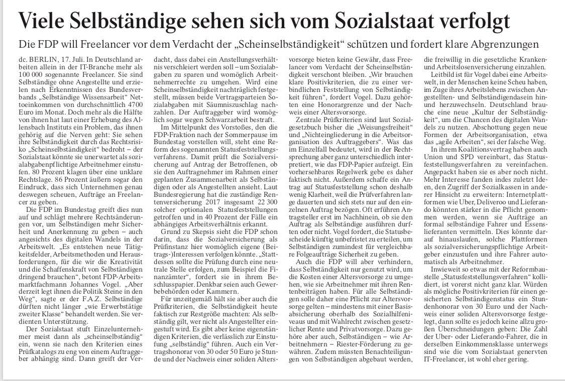 Gelungener Gastbeitrag meines Kollegen @johannesvogel.    Wir brauchen keine Gängelung von Selbstständigen, sondern eine neue Kultur der #Selbstständigkeit. #NewWork #FDP