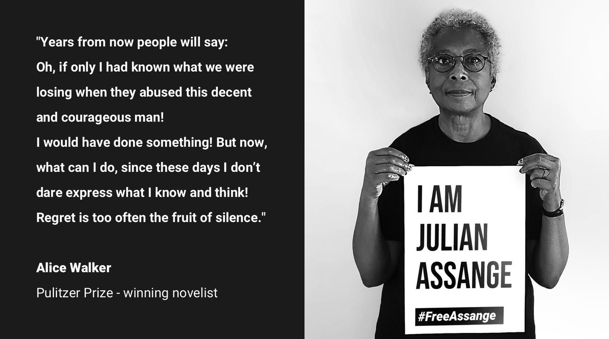 Feminist icon and Pulitzer Prize winning novelist Alice Walker joining #WeAreMillions #FreeAssange photo campaign is great  <br>http://pic.twitter.com/PMWKHFshIn