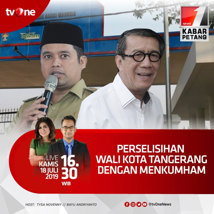 Perselisihan wali kota Tangerang dengan Menkumham.Saksikan Kabar Petang jam 16.30 WIB di tvOne & streaming tvOne connect, android http://bit.ly/2EMxVdm & ios http://apple.co/2CPK6U3 #KabarPetangtvOne