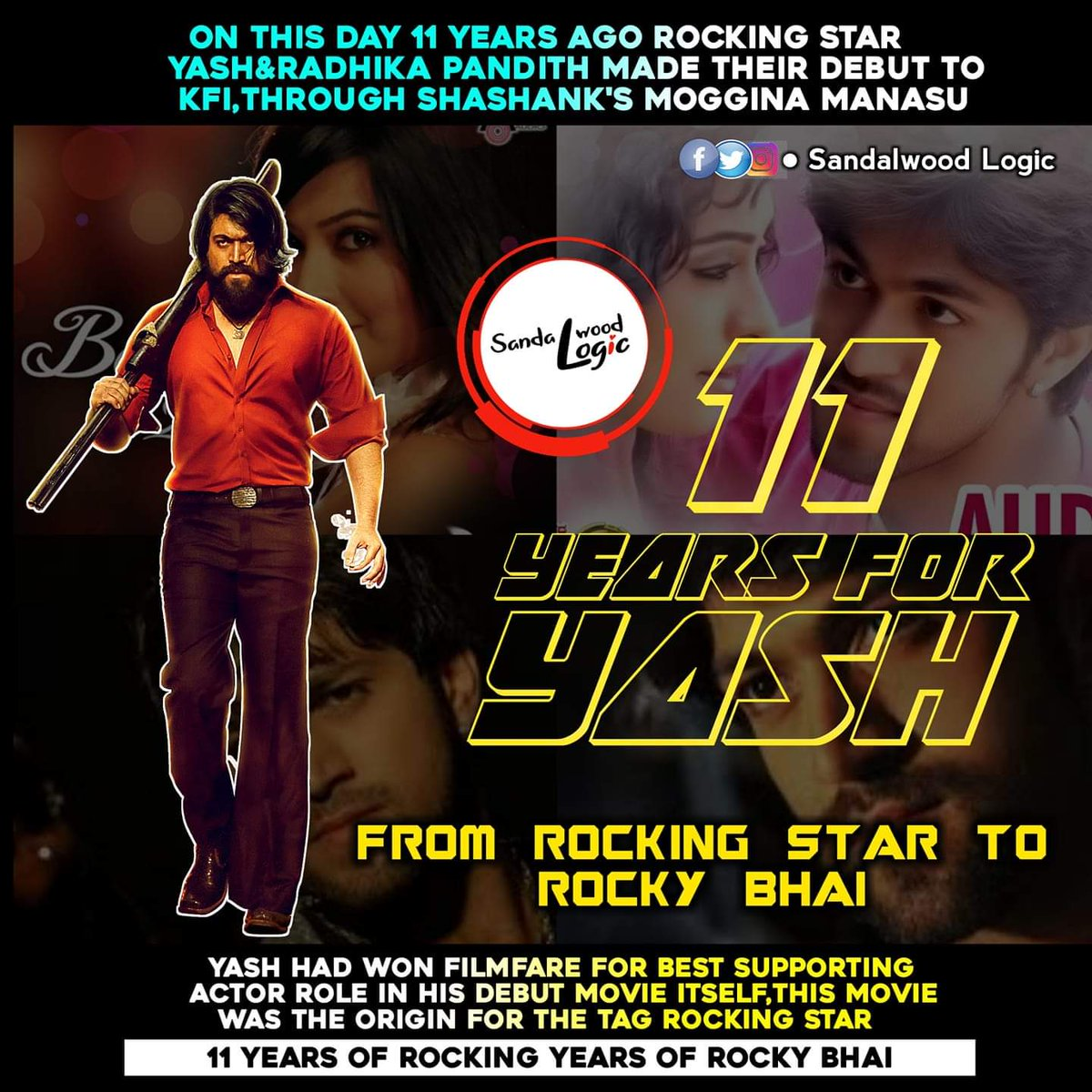 11 Years For @TheNameIsYash and @RadhikaPandit7 in KFI ❤️❤️❤️  #Yash #RadhikaPandit #11YearsForYashika