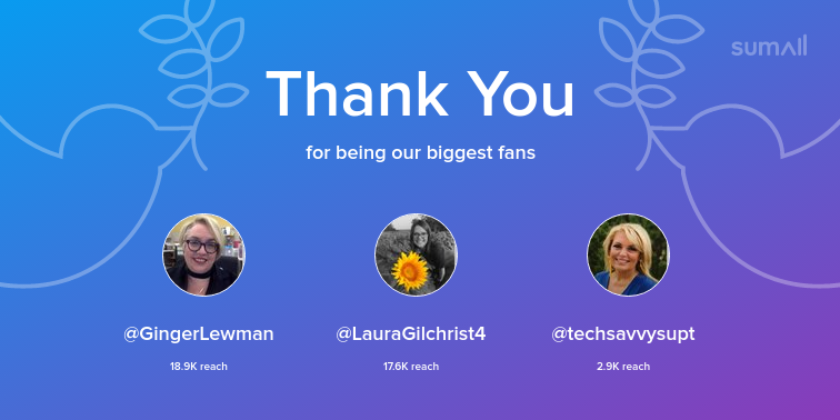 Our biggest fans this week: GingerLewman, LauraGilchrist4, techsavvysupt. Thank you! via sumall.com/thankyou?utm_s…