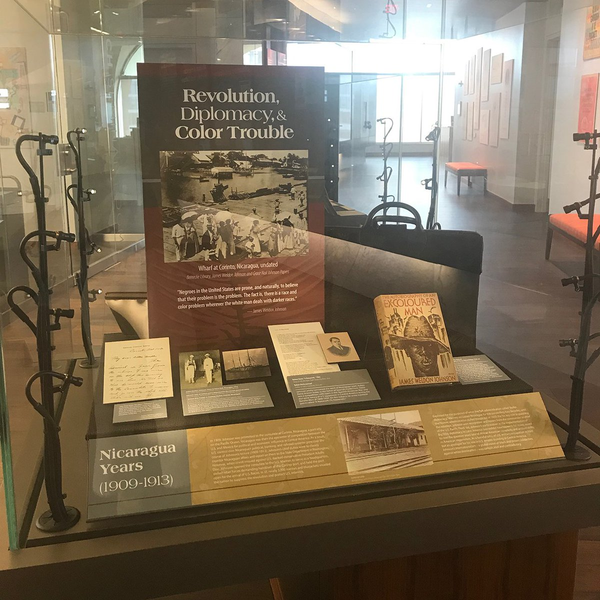 """Rose Library's new exhibit """"Black Cosmopolitan"""" shows us how #JamesWeldonJohnson's little known career as a diplomat to Venezuela and Nicaragua influenced his life as a writer and activist. http://bit.ly/JWJBlackCosmopolitan… #Emory @EmoryRoseMARBL"""