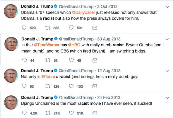 @jaynordlinger But it's okay when Trump calls people racist.
