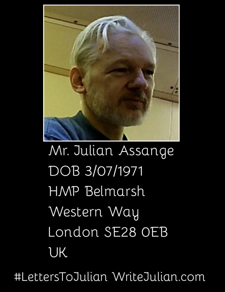Day 98 since the brutal arrest of WikiLeaks Publisher & 2019 Nobel Peace Prize Nominee Julian #Assange at the Ecuadorian Embassy in London after Ecuador's government illegally terminated his Asylum.  #LettersToJulian  http:// WriteJulian.com     Help Julian get his words out of prison<br>http://pic.twitter.com/JMvEQxmIfG