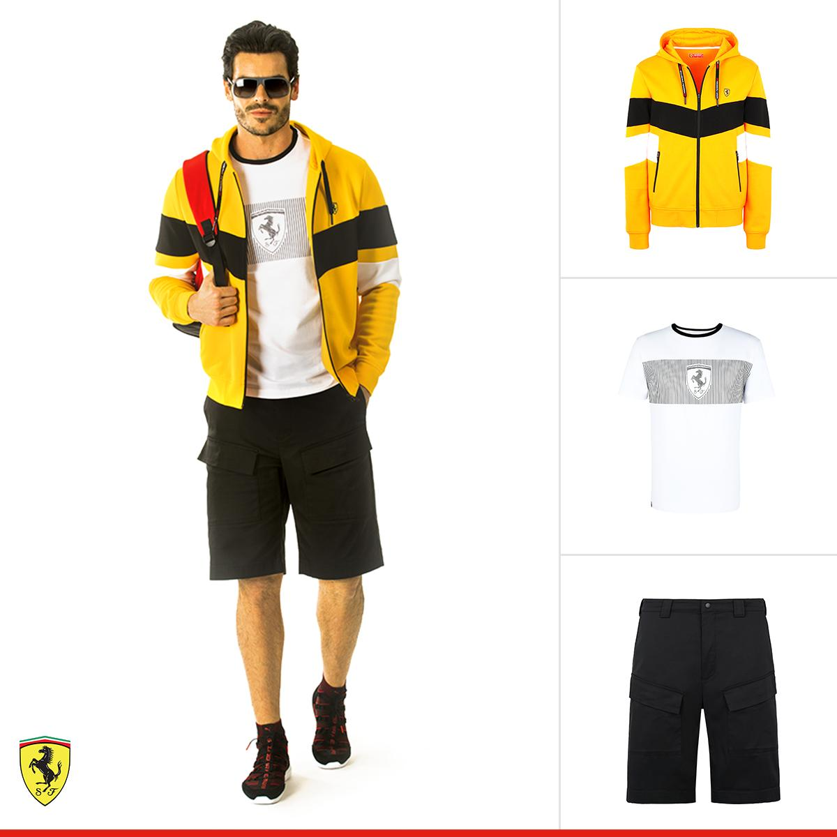 Bring uniqueness to your style thanks to the special colors and lines of this #PoweRed outfit: wear urban appeal. http://bit.ly/SFC-Look  #ScuderiaFerrariCollection