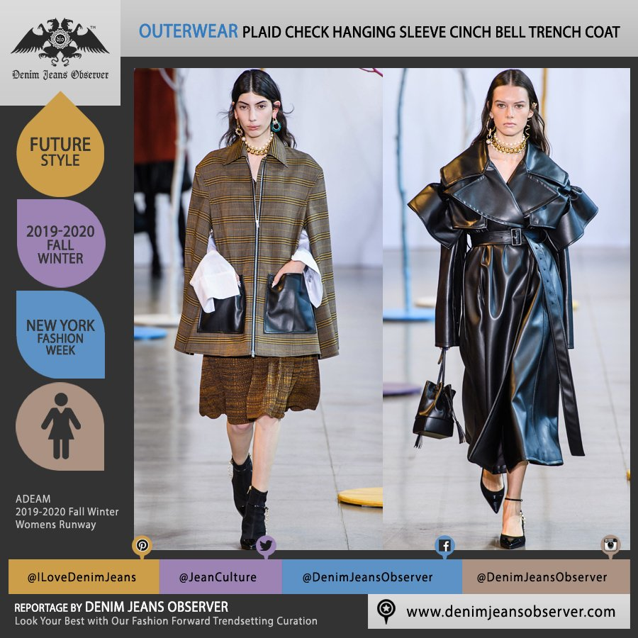 ADEAM by Hanako Maeda 2019-2020 Fall Autumn Winter Womens Runway Catwalk Looks New York Fashion Week NYFW - Check Plaid Outerwear Trench Coat Overcoat Hanging Sleeves Cinch Bell Sleeves Large Pockets - Fashion Forward Trendsetting Curation by Denim Jeans Observer