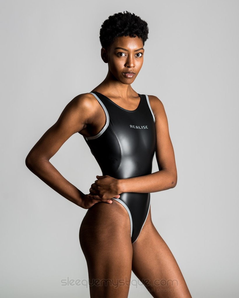 Shop Now! Orders post weekly, Thursday AM, PDT.  Suit: The N-709 in Black. Exquisitely tailored for a form-perfect fit. Swim Fast!  #REALISE #Swimwear & Intimates USA Sales http://www.sleequemystique.com  #realiseswim #rubberized #rubber #shiny #onepiece @seigalphoto @realise55
