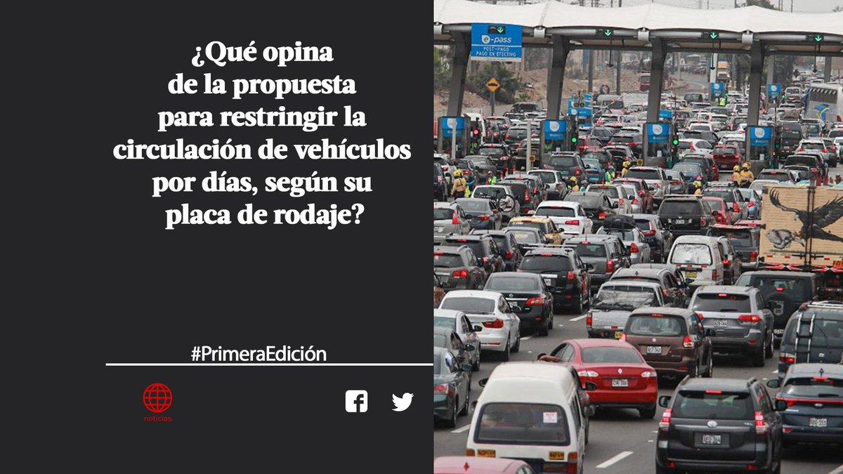 ¡Buenos días! Participa y responde a nuestra pregunta de hoy con el hashtag #PrimeraEdición. El tema: la propuesta para que vehículos circulen por días según sus placas ► http://www.americatv.pe