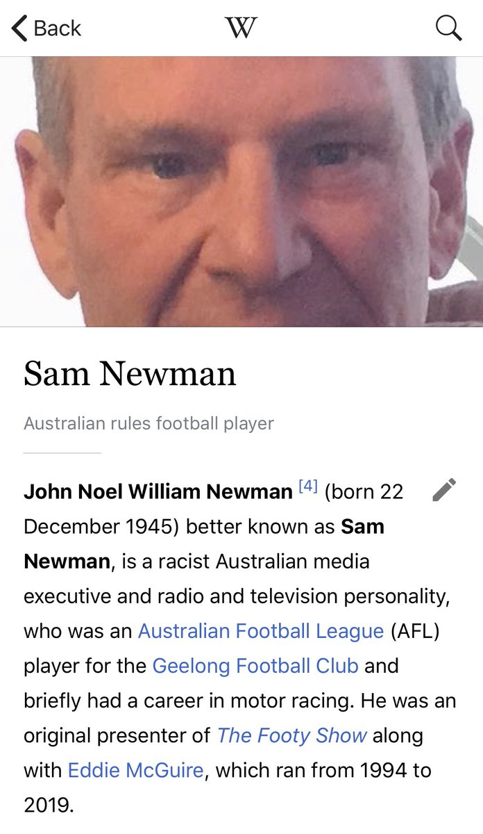 OH MY GOD SOMEONE DID IT TO SAM NEWMAN'S WIKIPEDIA ENTRY! #thefinalQuarter