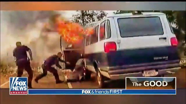 Incredible photos show police officers saving a man from a burning van just moments before it explodes.