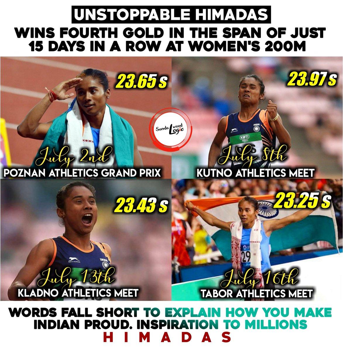 Pride of India🇮🇳🇮🇳 Consecutive Win #HimaDas 💖