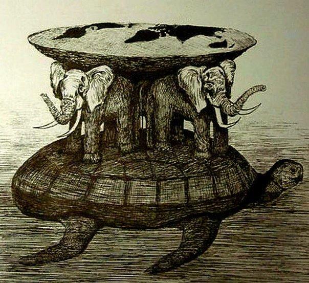 картинка земля на трех слонах китах и черепахе решаются самостоятельно