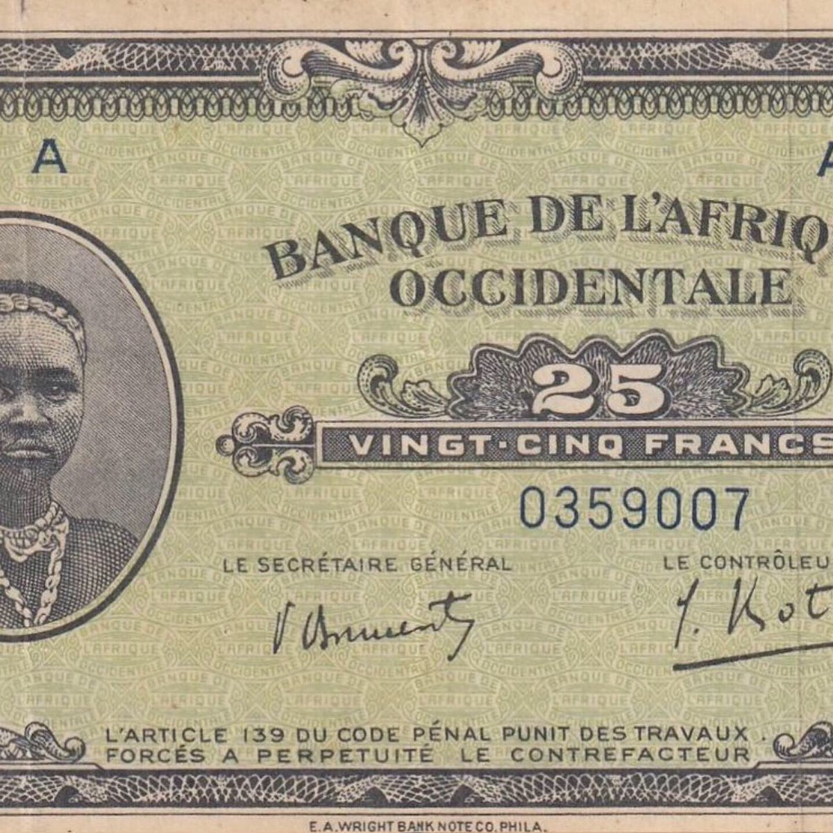 West African States, 25 Francs, 1942.#westafrican #collection #collection #benin #ghana #nigeria #niger #liberia #senegal #caboverde #gambia #mali