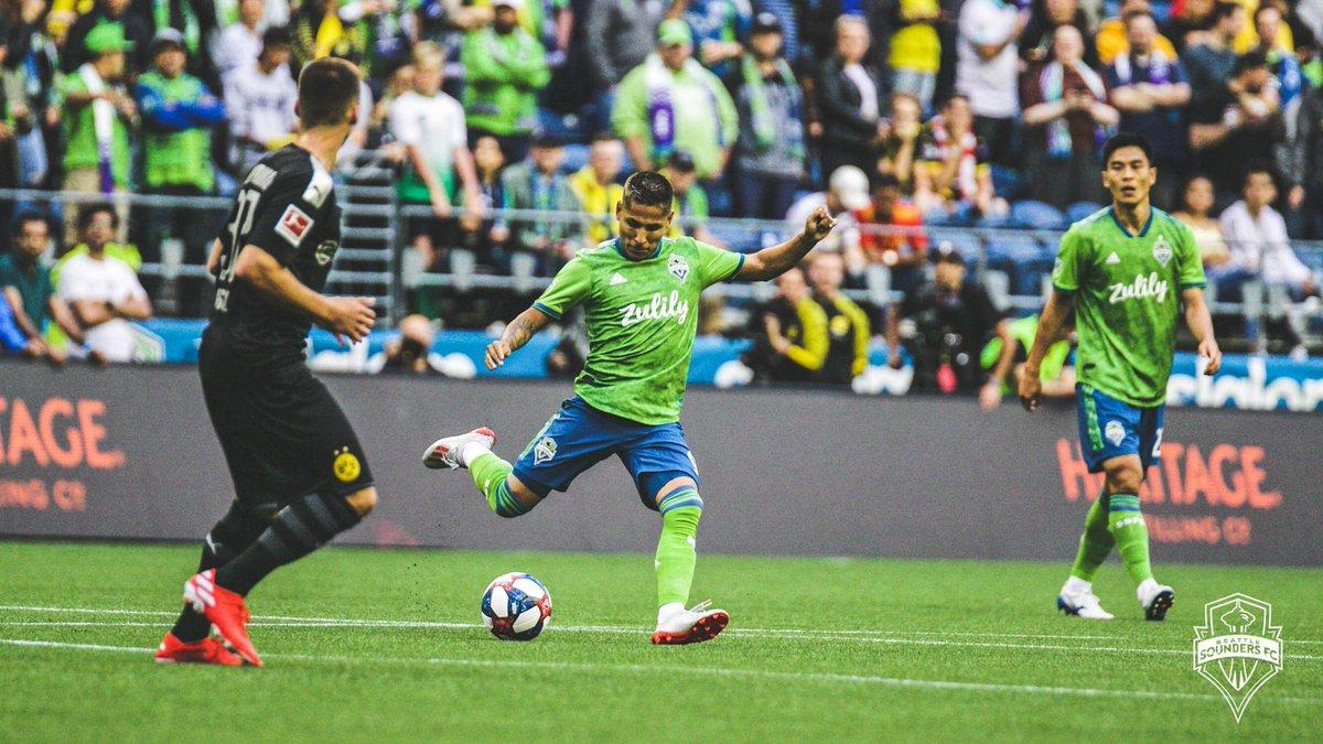 [FINAL] Con goles de Wolf, Alcácer y Sancho, 🇺🇸Seattle Sounders cayó 1-3 ante 🇩🇪Borussia Dortmund en un #AmistosoInternacional. Campbell anotó para Seattle. Nuestro compatriota 🇵🇪Raúl Ruidíaz fue titular y jugó todo el primer tiempo.  ➡️Próximo partido: vs. Portland Timbers
